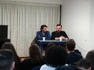 Θέμης Καραμουρατίδης και Γεράσιμος Ευαγγελάτος στο Εργαστήρι Ελληνικού Τραγουδιού.